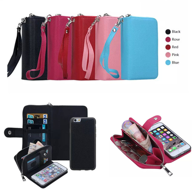 Zipper Purse PU Leather Flip Phone Case For Apple iPhone 6 7 8 Plus 5.5 Cover Wallet With Card Holder For iPhone 8 7 6s plus