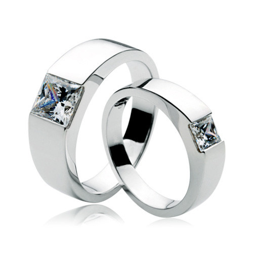 Fancy Couple Rings White Gold 585 Princess Cut Diamond