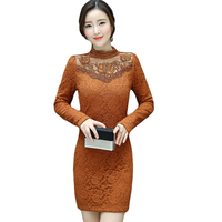2018 Spring Autumn Winter Lace Dresses Women Clothing Thicken Warm Solid Color Women Plus Size 3XL