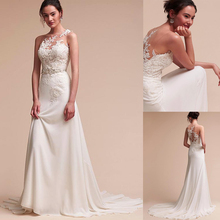 Fantastic Jewel Neckline Sheath Column Wedding Dress With Beaded Lace Appliques Beading Sash Long Bridal Dress