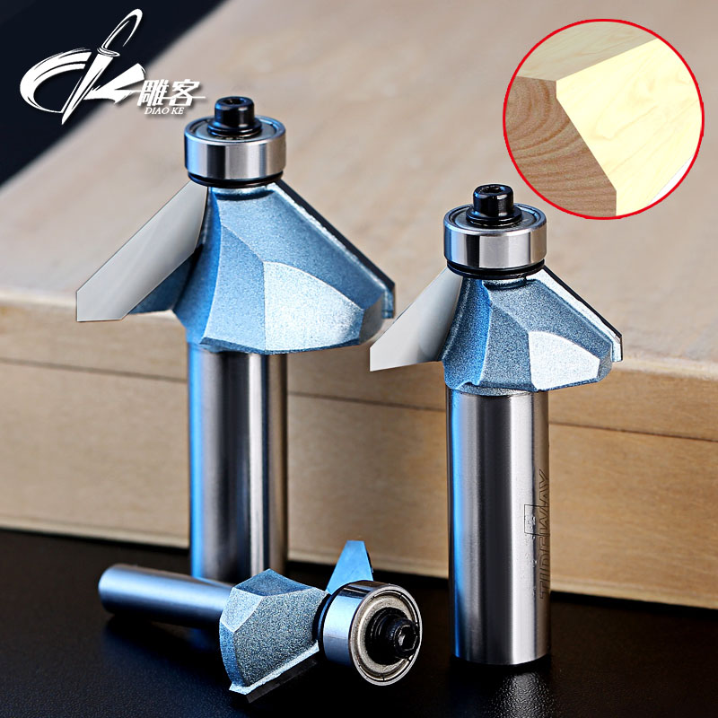 1pc Woodworking 45 Deg milling cutter with bearing trimming blades knife gong Woodworking Machine cutting tools
