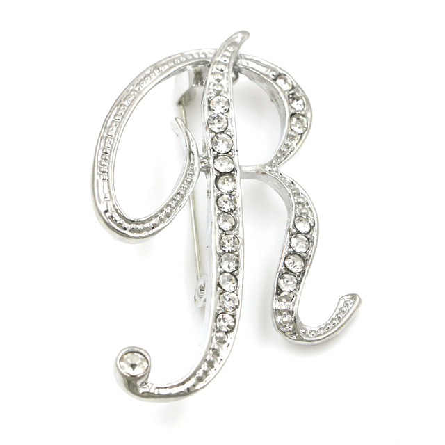Letters N to Z Zinc Alloy Clear Crystal Rhinestone Brooch Pins for Women in  Silver Color Plated cee4e2317f8b