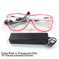 Newest Blinking Glasses EL Wire Neon Cold Glowing Glasses With Sound Activated Driver For Holiday Lighting