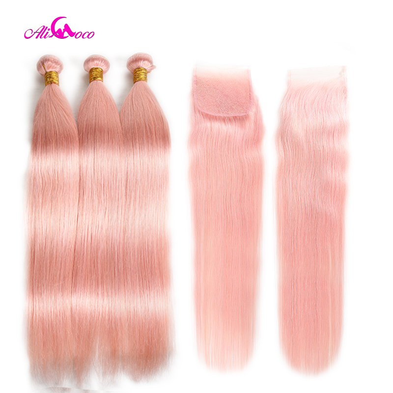 Ali Coco Brazilian Straight Hair 3 4 Bundles With Closure Full Pink Human Hair Bundles With