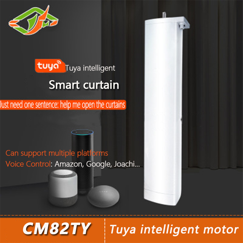 TUYA DC Motor CM82TY110-240V Ultra-quiet Electric Curtain, Smart Home Electric Curtain, ControlledbyTUYAAPP OrAlexa Or GoogleHom
