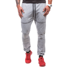 Фотография Outdoor Sports Men Ripped Pants Solid Color Drawstring Casual Workout Trousers