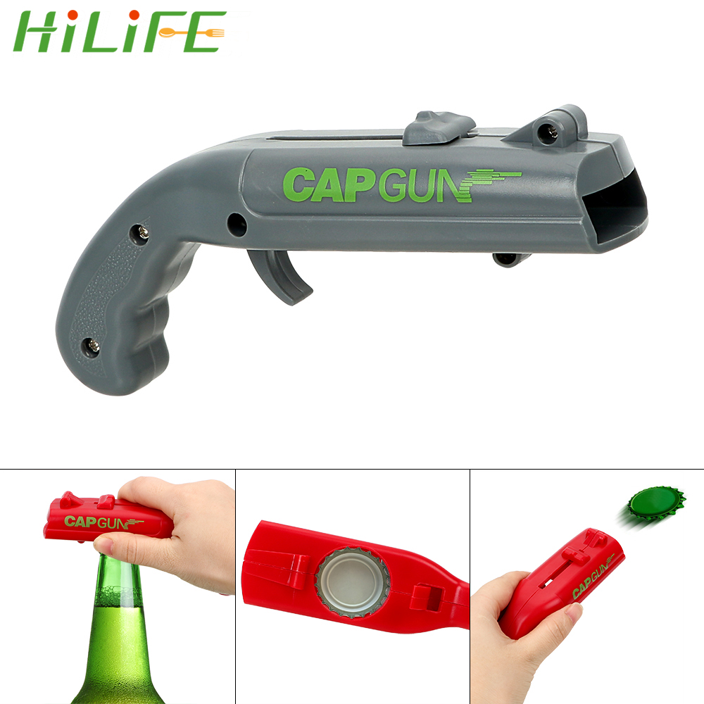 HILIFE Can Openers Spring Cap Catapult Launcher Gun Shape Bar Tool Drink Opening Shooter Beer Bottle Opener Creative
