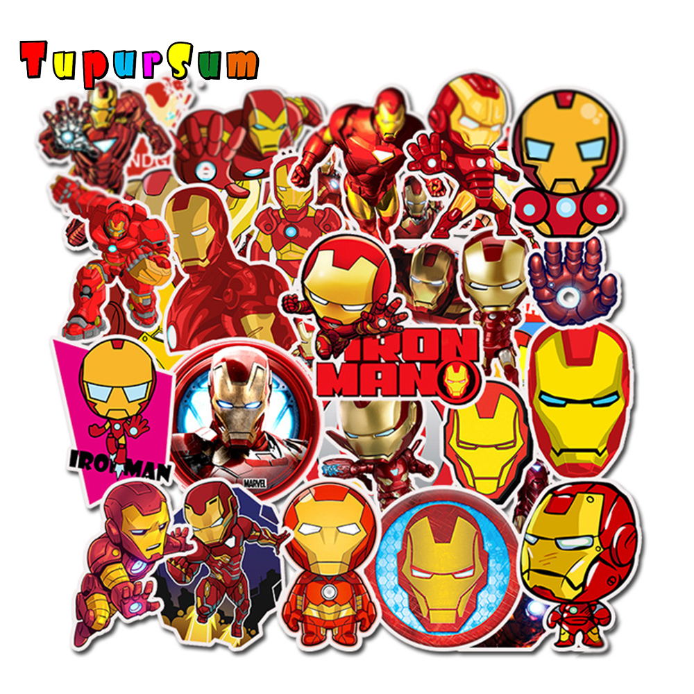 Anime stickers Super Heroes Iron Man Stickers Laptop Fridge Skateboard Suitcase Scrapbooking funny Cool Waterproof Sticker Toys