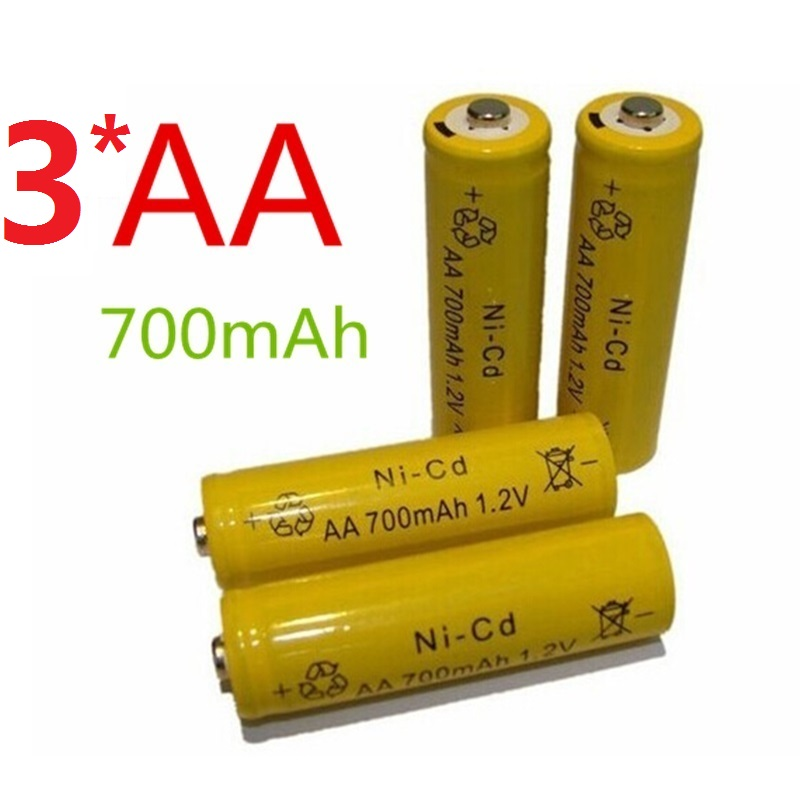 3*14500 Rechargeable Batteries(AA battery) <font><b>1.2</b></font> <font><b>v</b></font> 700mAh <font><b>NI</b></font>-<font><b>CD</b></font> Battery Flashlight laser 14500 1.2V 700MaH aa battery image