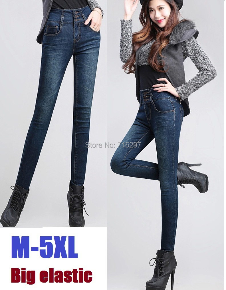2016New Plus Size Women Jeans trousers denim Pencil Pants spring autumn big Elastic high waist empire