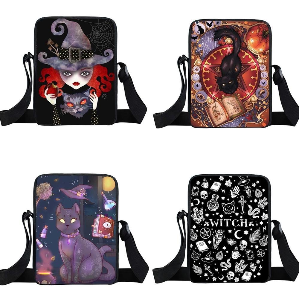 Hocus Pocus Letter / Witch / Black Cat / Voodoo Doll Print Mini Messenger Bag Women Handbag Teenager Girls Small Shoulder Bag