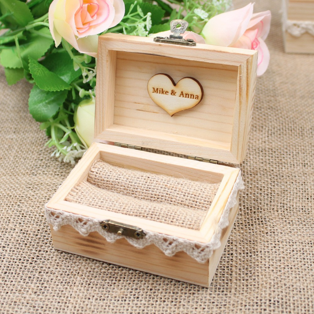 Custom Name Wedding Ring Box Engagement Personalized Wooden Ring Bearer Storage Box Romantic Wedding Gift Ring Box Holder wood