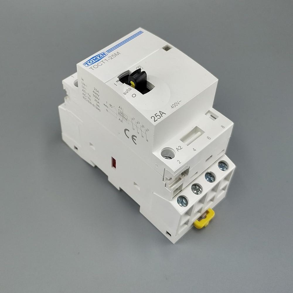 TOCT1 4P 25A 220 V/230 V 50/60 HZ, carril Din hogar ac contactor Modular con interruptor de Control Manual 4NO o 2NO 2NC o 4NC TOCT1 2P 25A 220 V/230 V 50/60 HZ, carril Din hogar ac contactor Modular 2NO 2NC o 1NO 1NC