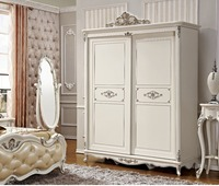 High Quality Sliding Door Wardrobe With Silver Carving