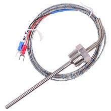 1/2 npt prova impermeável do sensor do par termoelétrico de aço inoxidável 50mm 100mm 150mm 200mm para o fio do controlador de temperatura 2 m do pid