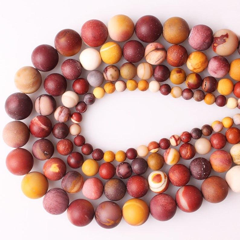 Mookaite Jasper Beads, Natural Stone Beads, Matte Stone Beads, Round Loose Beads 2