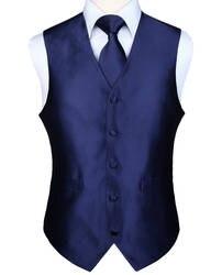 Pocket Square Set Для мужчин Классические однотонные вечерние свадебные галстук жаккардовые жилет платок костюм с галстуком комплект