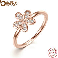 BAMOER 925 Sterling Silver Rings With AAA Zirconia Yellow Rose Gold Plated Finger Ring Classic Wedding