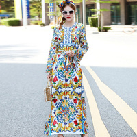 Fashion Beading Beach Casual Long Dress High Quality 2017 Women S Summer Runway Loose Print Maxi