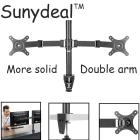 "Dual Arm TV Wall Mount PC Monitor Mount Double Arm Desk Stand TV LCD LED Support 10-27"" Screen Tilt VESA Adjustable TV Stand"