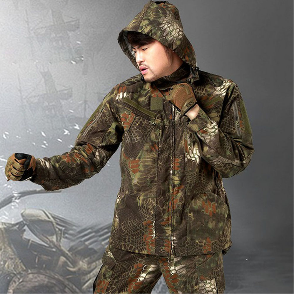 Men Quick Drying Camouflage Python Tactical Jacket Military Assault Hunting Coat Male Durable Water Repellent CS