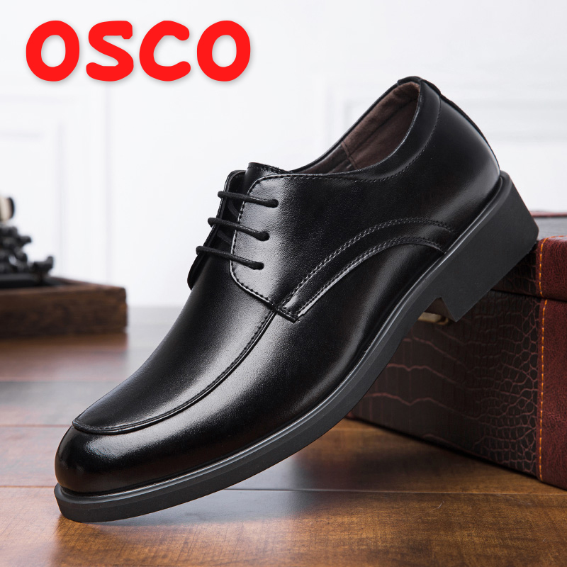 US $29.4 40% OFF OSCO Men shoes Autumn Business Casual Shoes Men Lace Up Middle aged Father Leather Shoes Men Official Dress Shoes in Formal Shoes