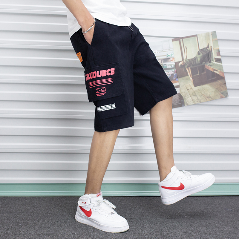 2019 Trend Japanese Summer Tooling  Korean Version Of The Tide Brand Five Points Sports Simple Men's Loose Casual  Shorts