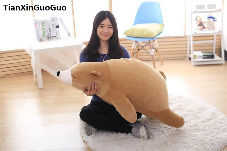 large 110cm lovely prone brown bear plush toy down cotton soft bear doll throw pillow birthday gift s0397 huge 105cm prone tiger simulation animal white tiger plush toy doll throw pillow christmas gift w7973