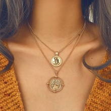 Double Face Round Coin Pendant Necklace For Women Trendy Gold Color Hollow Chain Choker Friend Gift