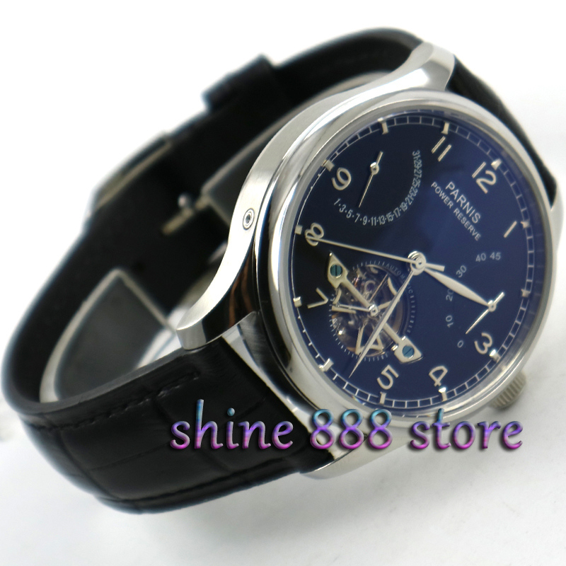 43mm Parnis watch power reserve Black dial Black strap date Automatic Self-Winding movement Men's watch
