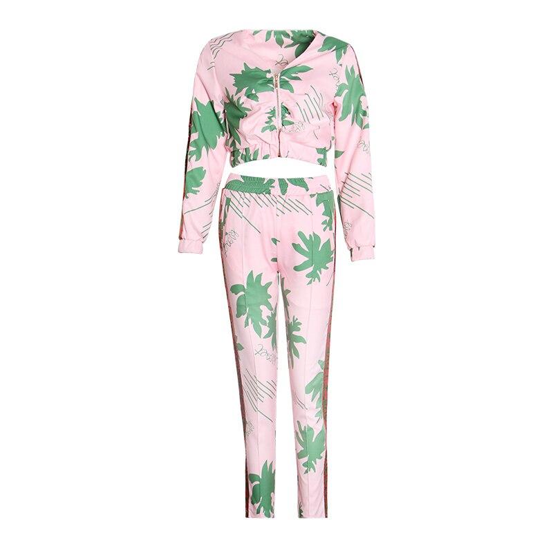 Kadın Giyim'ten Kadın Setleri'de TWOTWINSTYLE Rahat Baskı Iki Parçalı Set V Yaka Uzun Kollu Kısa Ceket Yüksek Bel Uzun pantolon seti Kadın Moda Yaz 2019'da  Grup 2