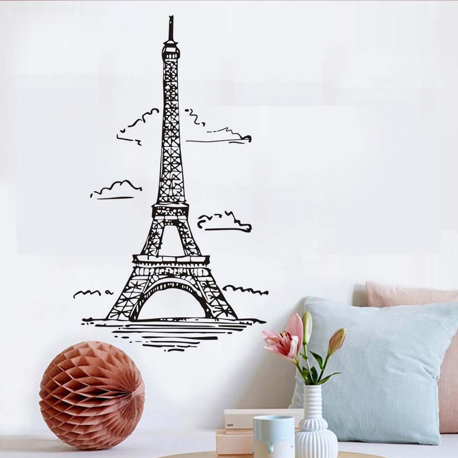 European style white clouds paris eiffel tower wall stickers european style white clouds paris eiffel tower wall stickers removable vinyl art decals mural for living room home decoration in wall stickers from home amipublicfo Images