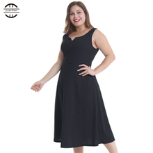 2018 New Summer Plus Size Dresses Women Elegant Bodycon Dress casual O Neck Sleeveless Black Maxi Clothes