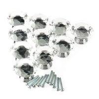 10Pc 40mm Crystal Glass Diamond Shape Cabinet Knob Drawer Pull Handle Kitchen