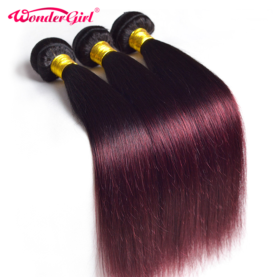 Wonder Girl Ombre Brasilian Straight Hair Bundles 1B 99J / Burgundy Two Tone Human Hair Bundles Kan Køb 3/4 Bundles Non Remy Hair