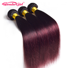 Wonder girl Ombre Straight Hair Bundles 1B 99J Burgundy Two Tone Brazilian Human Hair Weave Bundles