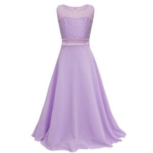 Image 3 - פרחוני תחרה פרח ילדה שמלות שיפון ללא שרוולים שמלת בנות מקסי שמלה לחתונה מסיבת תחרות נסיכת Vestidos נשף
