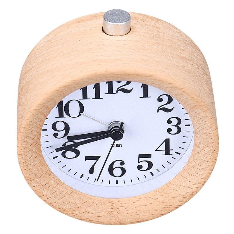 UESH-Creative Small Round Classic Wood Silent Desk Travel Alarm Clock Nightlight New