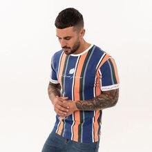 2019 New Mens Striped t shirt Summer Loose Short sleeve O-Neck T-shirt Male Casual Fashion Hip hop Tees Tops Streetwear Clothing