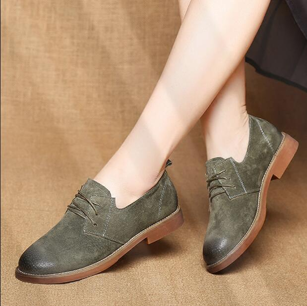 RUSHIMAN Spring new Retro Oxford Shoes for Women 2018 Genuine Leather Shoes  Woman Lace up Oxfords Flat Shoes Women Size  35-40 81c9a0534d7