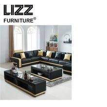 New Design–modern Creative U Shape Genuine Leather Sectional Sofa modular lounge furniture living room sofa set with LED light
