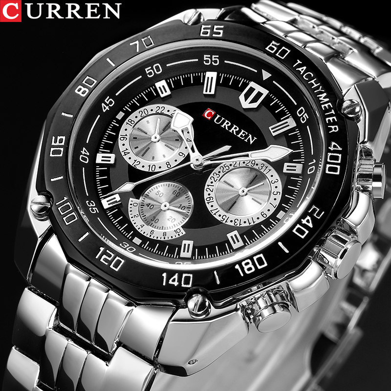 CURREN 8077 Full Stainless Steel Band Watches For Men Fashion Army Military Quartz Mens Watch Sport Wristwatch Male Clock Reloje megir watch luxury quartz men wristwatch stainless steel strap band hour time clock casual male man sport army military watches