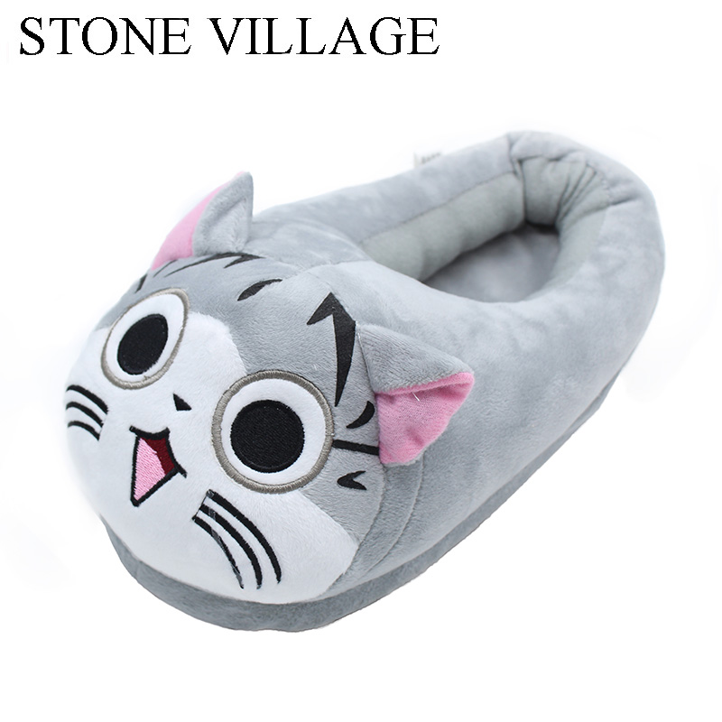 Cute Cat Slippers Pantoffels Cotton Indoor Slippers Home Slippers Embroider Women Slippers Shoes One Size 35-43 Sneaker Slippers