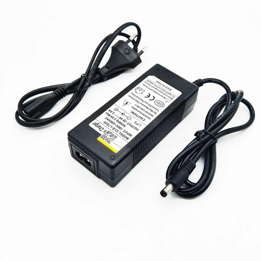 Nowy wysokiej jakości 29.4V 2A 7S elektryczny rower ładowarka akumulatorów litowych dla 24V 2A akumulator litowy wtyczka rca złącze ładowarka