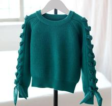 Solid O-Neck Casual Pullover Knitted Sweater Viscose Fashion cuffs Girl Clothes Thread warm Solid Long Sleeve Costume S129