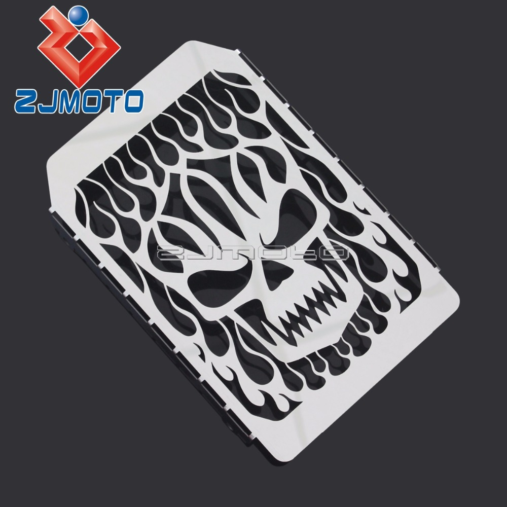 Motorcycle Chrome Skull Flame Radiator Grille For Kawasaki Vulcan VN 1500 <font><b>VN1500</b></font> Stainless Steel Radiator Protection Cover image