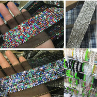 1yds Beads Lace Applique Sequin Lace Fabric DIY Heavy Lace Trims Sewing Curtain Clothing Collar Decoration