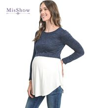 Plus Size Fashion Long Sleeves Patchwork Maternity Tees Navy & Gary Breastfeeding Shirts for pregnancy Women Nursing Tops