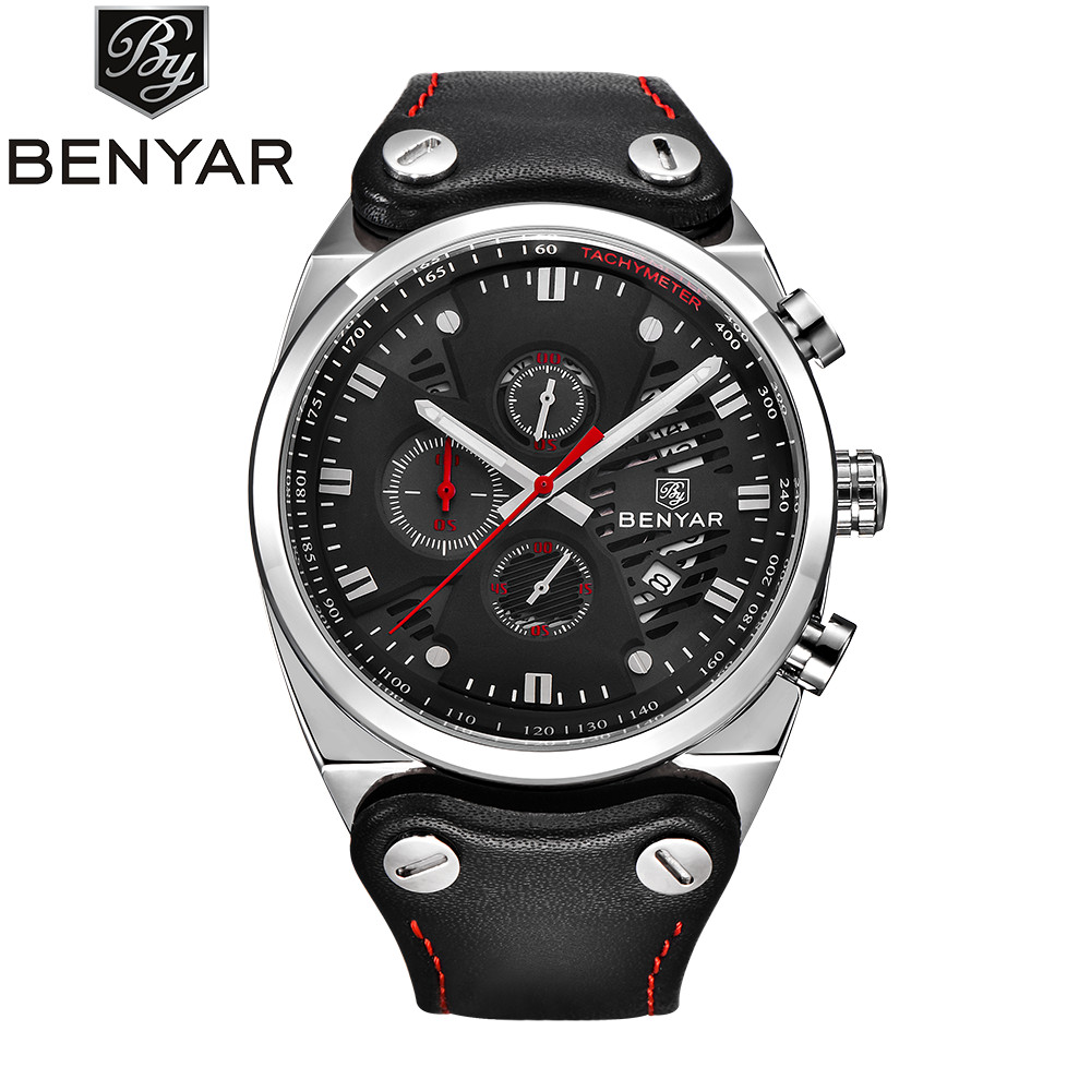 Relogio Masculino BENYAR Fashion Chronograph Sport Mens Watches Top Brand Luxury Quartz Military Leather Watch Male Clock Saat fashion luxury waterproof analog men sport watch chronograph mens leather watches male clock quartz wristwatch relogio masculino