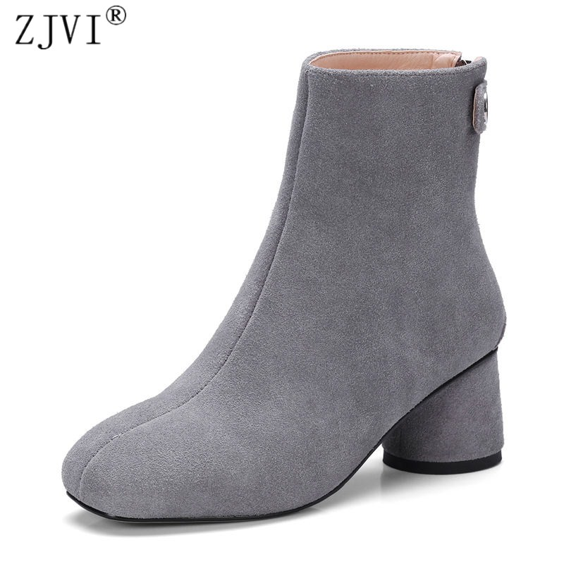 ZJVI Women suede Genuine leather Ankle boots women's Autumn winter boots 2018 Woman round toe nubuck thick high heels shoes egonery quality pointed toe ankle thick high heels womens boots spring autumn suede nubuck zipper ladies shoes plus size